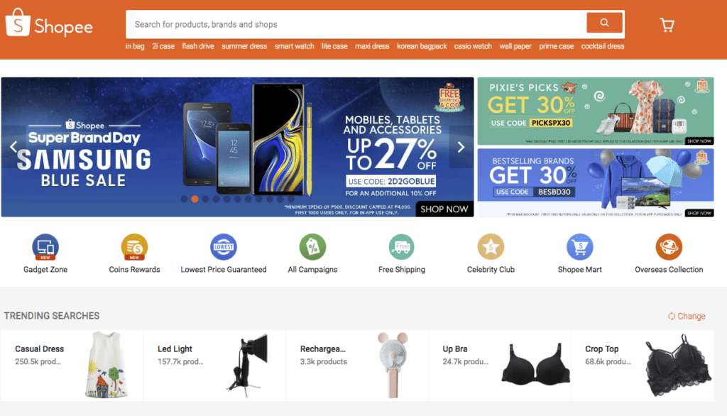 菲律賓購物網站蝦皮