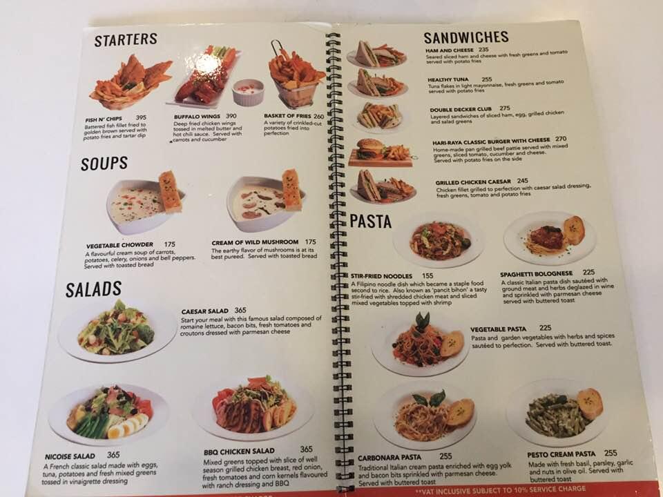 馬尼拉一航廈餐廳 菜單